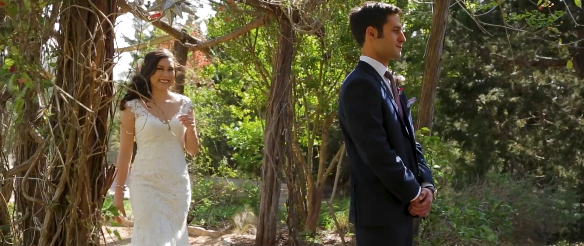 first look bride groom wedding videographer